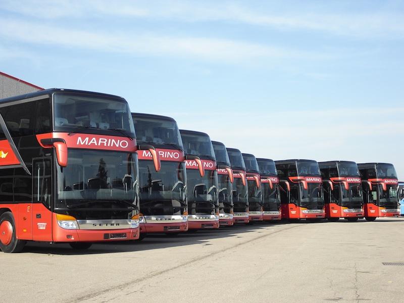 Una parte della flotta Setra due piani delle Autolinee Marino