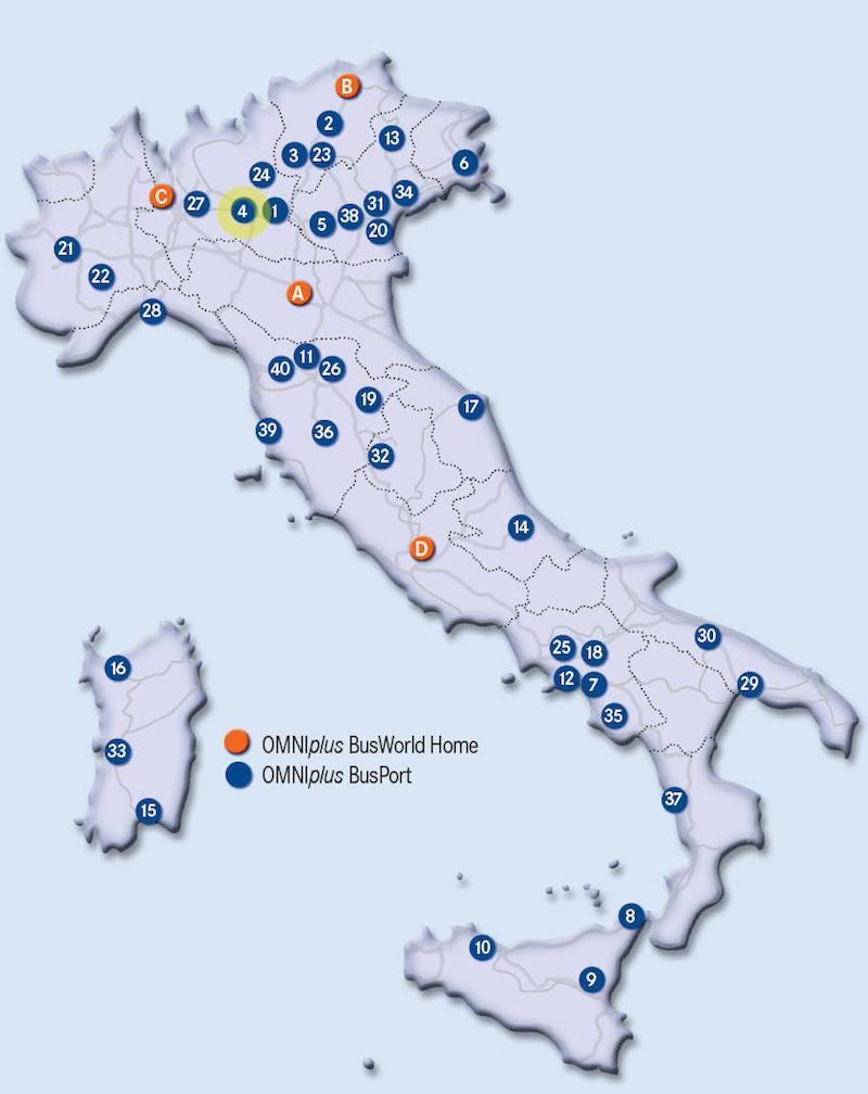 Mappa rete Assistena OMNIplus Autoservizi Locatelli