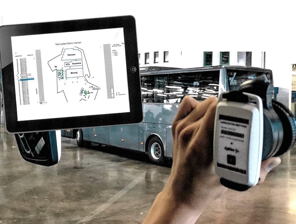 Impianto localizzazione autobus nello stabilimento Mercedes-Benz