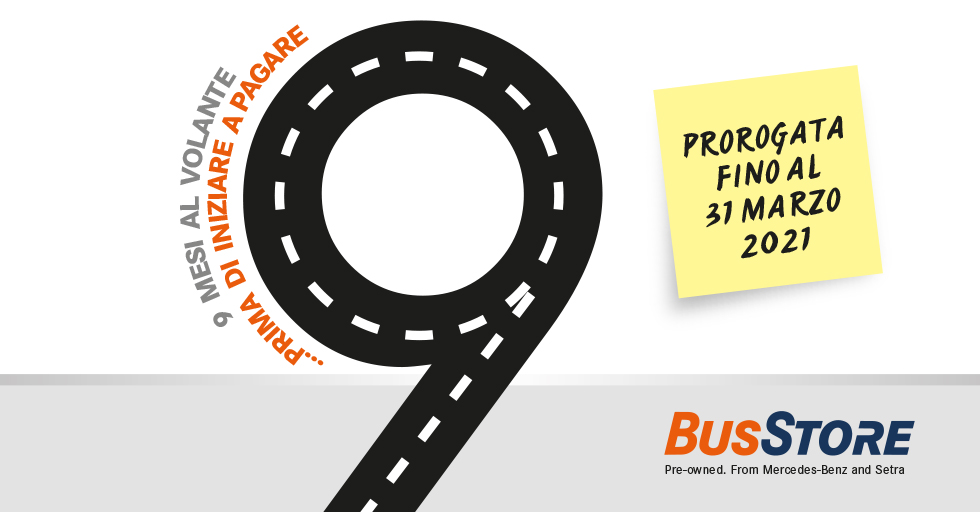 Promo 9 mesi BusStore prorogata fino al 31 marzo 2021