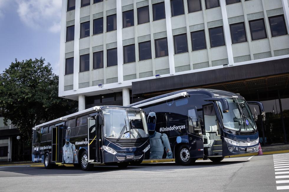 Mercedes-Benz autobus diventano Centri di vaccinazione mobile in Brasile